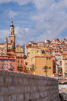 The coastline of Menton, France, a lesser known little town on the Cote d'Azur. It has a beautiful bay with houses in an array of warm tints, reminding me of Cinque Terre in Italy