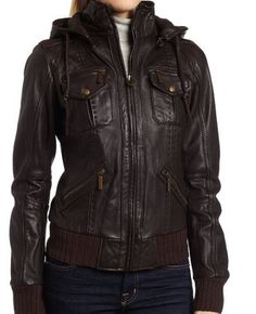 handmade women elegant Brown Hooded Leather Jacket, women Brown Leather Jacket, women leather jacket from ukmerchant on Etsy. Saved to Men's Style and. Leather Jacket For Girls, Leather Jacket With Hood, Lambskin Leather Jacket, Leather Blazer, Biker Leather, Brown Leather, Cowhide Leather, Designer Leather Jackets, Hoodie Jacket