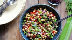 Dig in to this tangy no-cook Mediterranean chickpea salad