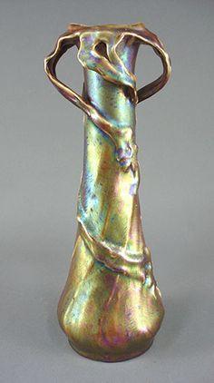Zsolnay Amphora Iridescent Art Pottery Vase -