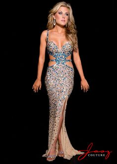 Dazzlingly stoned stretch sexy prom dress with beaded cutouts and straps front slit flowing train.