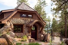 This fairytale stone cottage designed by TKP Architects and Old Greenwich Builders is located in Genesee, Colorado. Mountain Cottage, Mountain Homes, Mountain Living, Cottage House Plans, Cottage Homes, Garden Cottage, Cottage Ideas, Farm House, Rustic Cottage