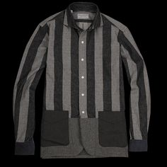 Remake Rugby Shirt Jacket in Grey by Kenneth Field