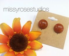 Orange Stud Earrings Round Post Earrings by MissyRoseStudios