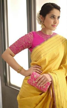Looking for best contrast blouse ideas to try with yellow saree? Here are 13 pretty colors that can add whole lot of charm to your vibrant yellow sarees! Pink Saree Blouse, Silk Saree Blouse Designs, Saree Blouse Patterns, Designer Saree Blouses, Wedding Saree Blouse Designs, Linen Blouse, Blouse Back Neck Designs, Sari Bluse, Indian Sarees