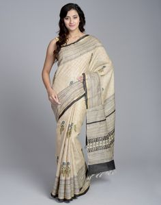 Create a new refreshing look with this tussar silk sari. This sari comes with a beautiful palla. The beautifully hand block printed motif accentuates the look of the sari. Available in avariety of colors, this sari is a must have for your wardrobe.   Tussar Silk Fabric Sari With Blouse Piece Attached Dry Clean Only