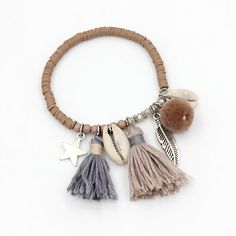 2.55$  Watch here -  VONNOR Jewelry Women Fashion Colorful Fimo Beads Handmade Bracelets with Tassel Pendant Shell Jewelry  Strand Bracelet for Girl   #magazineonlinewebsite