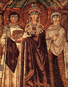 Empress Theodora with a maniakis, the byzantine decorative collar. The feminine maniakis is more elaborate.