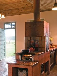 Wood Stove Chimney Firewood Country Kitchen Building A House