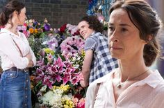 Amy Marston as Jenny Rawlinson in EastEnders, the mother of Paul Coker (right), played by actor Jonny Labey