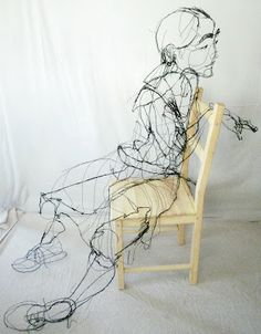 David Oliveira, Lisbon, Portugal,  wire sculptures look like scribbled drawings.