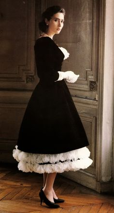 The elegance and flair of a true haute couture dress by Dior himself. The finish lines are pretty amazing.