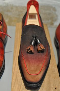 At Corthay, Paris. Patinated suede tassel loafer. #corthay #pierrecorthay#corthayparis