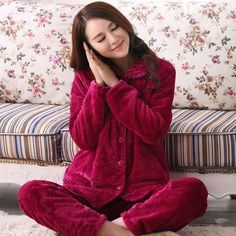 Flannel pajamas women thickening in winter to keep warm long-sleeved pants coral fleece pajamas Free home delivery Pyjamas, Fleece Pajamas, Flannel Pajamas, Pajamas Women, Keep Warm, Underwear, Delivery, Coral, Lounge