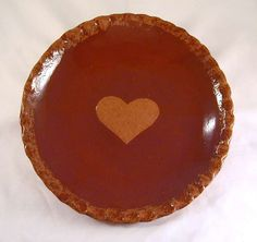 Ned and Gwen Foltz Large Redware Plate Scalloped Edge and Heart Decoration Rare Signature 1988