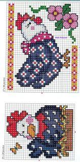 Anaide Ponto Cruz: Gráficos em ponto cruz para pano de prato. Rooster Cross Stitch, Chicken Cross Stitch, Cross Stitch Kitchen, Counted Cross Stitch Patterns, Cross Stitch Embroidery, Embroidery Patterns, Little Stitch, Pattern Pictures, Charts And Graphs
