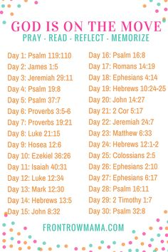 God is on the Move - 30 Day Scripture Writing Plan. Set aside 20 minutes a day to Pray, Read, Reflect and Memorize the Word.