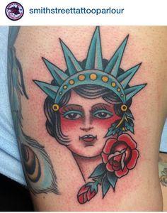 Lady liberty - Smith Street Liberty Tattoo, Watercolor Tattoo, Tatting, Lady, Etchings, York, Statue, Woman, Street