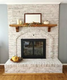 Home decor Go ahead! Paint that fireplace! – Painted Gem Creations Protecting Your Hardwood Floor Ha Paint Brick Fireplace White, Painted Brick Fireplaces, Paint Fireplace, Brick Fireplace Makeover, Fireplace Design, Brick Wall, Fireplace Ideas, Over Fireplace Decor, Brick Fireplace Remodel