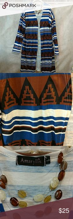Aztec cardigan NWOT Long silky cardigan. NWOT amaryllis Jackets & Coats