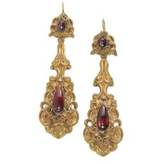 """`.""""Unusually Long"""" Victorian Earrings. 18KT yellow gold dangle earrings in the garland style with carbuncle garnets in the uppers and lowers. Over 3"""" long. c.1860."""