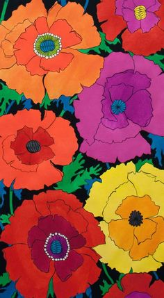 Alexander Henry  Folklorico  Mexican Poppy  by JeanMariesFabrics