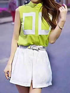 Buy Fluorescence Green Contrast Sleeveless Top With White Skort from abaday.com, FREE shipping Worldwide - Fashion Clothing, Latest Street Fashion At Abaday.com