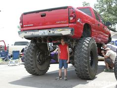 High enough? Lifted Chevy Silverado http://perrisautospeedway.com #autospeedway #speedway #attractions