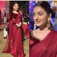 Indian Fashion Dresses, Dress Indian Style, Indian Designer Outfits, Asian Wedding Dress Pakistani, Pakistani Outfits, Velvet Dress Designs, Lehnga Dress, Stylish Sarees, Elegant Saree