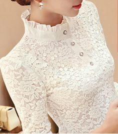 New 2016 Autumn Women Long Sleeve Fashion Lace Floral Patchwork Chiffon Blouse S. - New 2016 Autumn Women Long Sleeve Fashion Lace Floral Patchwork Chiffon Blouse Shirts Casual Slim Tops Blusas Source by felinegalore. Outfit Chic, Lace Outfit, Winter Blouses, Mode Outfits, Mode Inspiration, Fashion Inspiration, Shirt Blouses, Blouse Designs, Blouse Styles