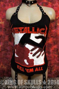 Items similar to Metallica DIY Bodysuit   Suspender Garter Kill  Em All  Go-go Heavy Metal Dancer Rock T-shirt reconstructed to women s sexy top on  Etsy 1083987f8