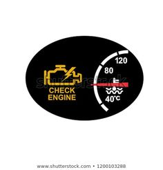 Icon retro style illustration of a dashboard with check engine sign or symbol warning and temperature gauge on black oval on isolated background. Signages, Retro Illustration, Retro Style, Retro Fashion, Royalty Free Stock Photos, Engineering, Symbols, Logos, Retro