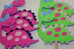 12 pack Pink, purple and green girl dinosaur cupcake toppers
