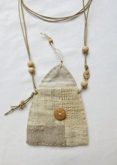 Natural textile Talisman Pouch by Indinoco on Etsy
