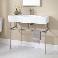 Zita Console Sink with Brass Stand - Console Sinks - Bathroom Sinks - Bathroom