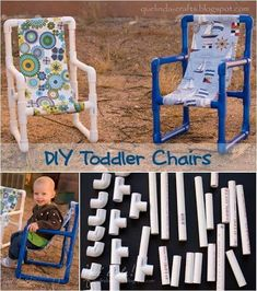 Toddler chair made out of pvc Pvc Pipe Crafts, Pvc Pipe Projects, Projects For Kids, Diy For Kids, Craft Projects, Toddler Chair, Toddler Play, Baby Crafts, Toddler Crafts