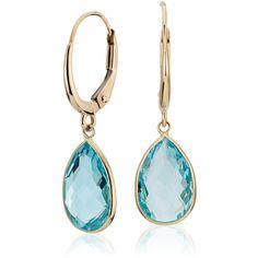 Blue Nile Blue Topaz Pear Drop Earrings ($325) ❤ liked on Polyvore
