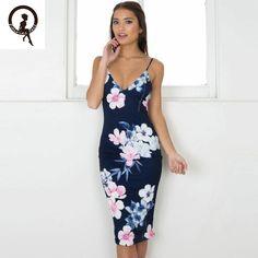 Fairies tell Floral print knee-length dress Women strap v neck split beach summer dress Sexy backless dresses vestidos EY11
