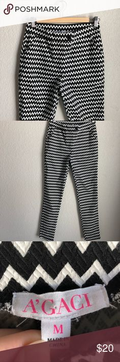Stretchy Zigzag Printed Pants Black and white Skinny leg fitted stretchy dress trousers. Wore these a couple times for work. Looked great. The button is just for looks, pockets do open though.  PET FREE HOME SMOKE FREE HOME OFFERS WELCOME QUICK SHIPPING CUTE PACKAGING 💕 ITEM #35 a'gaci Pants Trousers