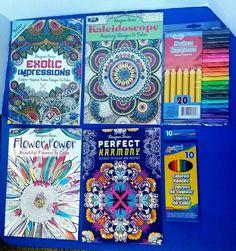 Adult Coloring Books Bundle 4 Books 1 Pack Colored Pencil +1 Marker 20pc Set NEW