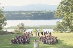 Bohemian Woodland Wedding: Julie + Bo - Wedding ceremony with an awesome view!