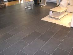 Slate tile, gray, love this shape and layout for bathrooms, laundry, and foyer areas. Grey Flooring, Tile Layout, Tile Floor, House Flooring, Bathroom Layout, Amazing Bathrooms, Flooring, Grey Floor Tiles, Rectangle Tiles