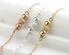 Beaded Bracelet • Stardust & Polished Shimmer Beads • Modern Jewelry • Simple Bracelet • Three Beads • Three Wishes • Three's A Charm • Mom