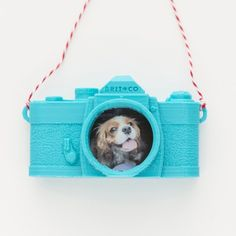Customize this 3D camera ornament with your favorite photo.