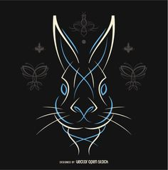 Rabbit line art in white and blue. perfect for stickers and much more!