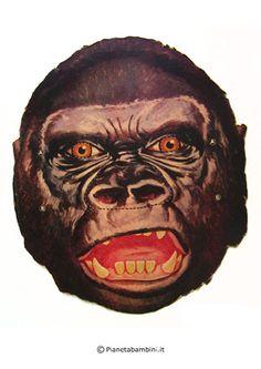 Maschera di Carnevale del gorilla da stampare gratis e ritagliare