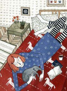 bibliolectors:  Teen: Intimacy reader / Adolescente: Intimidad lectora (ilustración Yelena Bryksenkova)