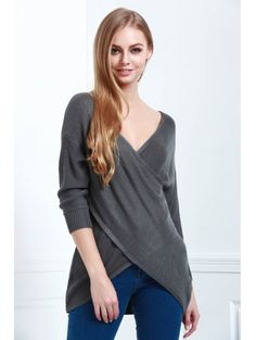 Solid Color Cross Long Sleeves V-Neck Sweater BLACK: Sweaters   ZAFUL