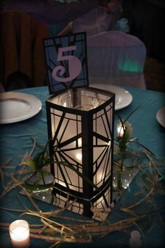 Art Deco Luminaries Black White Wedding centerpiece tablesetting table setting decoration 1920s Great Gatsby Party wedding roaring 20s vintage decorations decor theme lighting lights