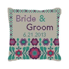 FlowerPop Custom Wedding Ring Bearer Pillow | #Needlepoint | #NeedlePaint